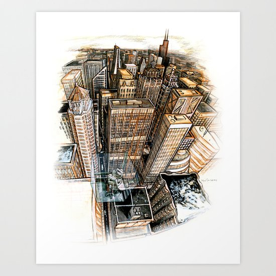 A cube with a view Art Print