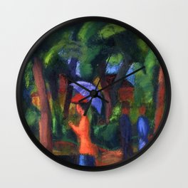 Woman with Purple Umbrella Walking in Jardin du Luxembourg Gardens, Paris, France still life painting by August Macke Wall Clock