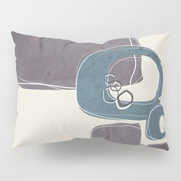 Retro Abstract Design in Teal and Aubergine Pillow Sham