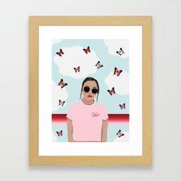 Red & Pink Butterflies and a Bitchin' T-shirt Framed Art Print