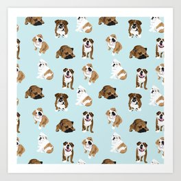 Bulldogs on light blue Art Print