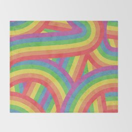 Faded Retro Rainbow Stripes Pattern Throw Blanket