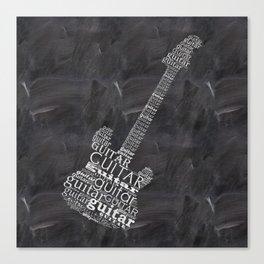 Guitar on chalkboard Canvas Print