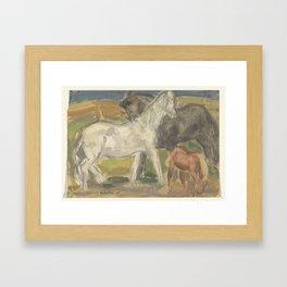 Drie paarden in een landschap, Leo Gestel, 1918 - 1928 Framed Art Print
