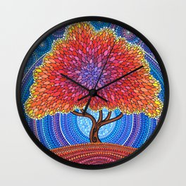 Autumn Blossoms Wall Clock