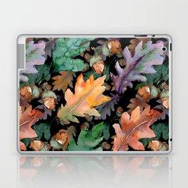 Colorful Woodland Watercolor Oak And Acorn Pattern Laptop & iPad Skin