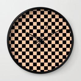 Black and Deep Peach Orange Checkerboard Wall Clock