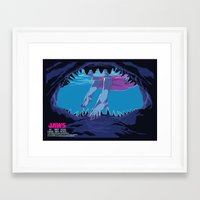 jaws Framed Art Prints featuring JAWS by Mike Wrobel
