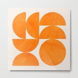Geometric Shapes orange mid century Metal Print