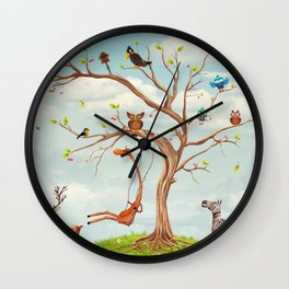 Tree with animals.Bunch of cute little creatures gathered on the branches of tree Wall Clock