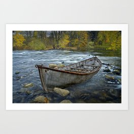 Canoe on the Thornapple River in Autumn Art Print