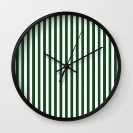 Original Forest Green and White Rustic Vertical Tent Stripes Wall Clock