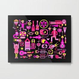 Festive City Vector Illustration Metal Print