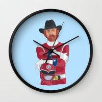 power ranger Wall Clocks featuring Walker Texas Power Ranger by Emily Niland