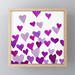 Valentine's Day Watercolor Hearts - purple Framed Mini Art Print