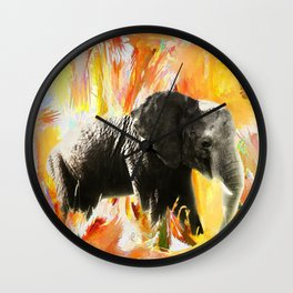 African Elephant - Happy Trails Wall Clock