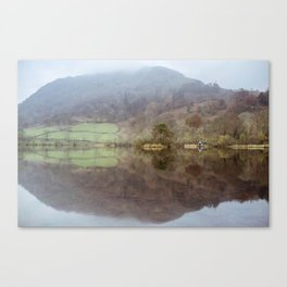 Boathouse and misty reflections on Rydal Water. Lake District. Canvas Print