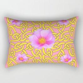 Decorative Yellow Celtic Pattern Pink-Coral  Rose Art Rectangular Pillow