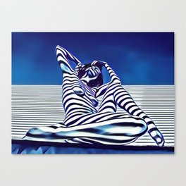 9135-KMA Blue Nude  Woman Striped with Shadow and Light Canvas Print