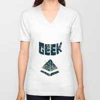 geek V-neck T-shirts featuring GEEK by YTRKMR