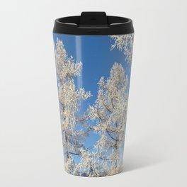 larch in snow, Siberia, Russia Travel Mug