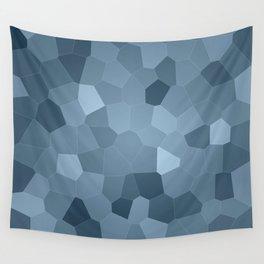 Large geometric blue digital art Wall Tapestry