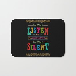 Lab No. 4 The Word Listen Alfred Brendel Motivational Quote Bath Mat
