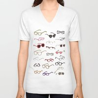 glasses V-neck T-shirts featuring glasses by Janaína Esmeraldo