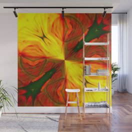 Bold Red, Green and Gold Abstract Kaleidescope Wall Mural