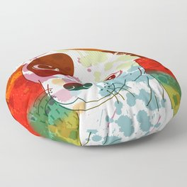 Abstract Colorful Jack Russel Terrier  Floor Pillow