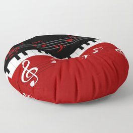 Stylish red. black and white piano keys and musical notes Floor Pillow