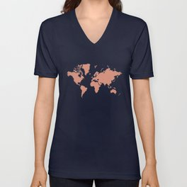 World with no Borders - coral Unisex V-Neck