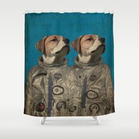 outer space Shower Curtains featuring Journey into outer space by Durro