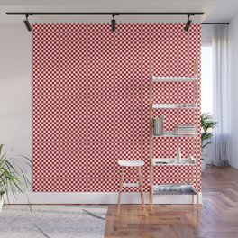 Valiant Red and White Mini Check 2018 Color Trends Wall Mural