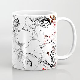 Black and White Flowers with Graphic Leopard Skin Coffee Mug