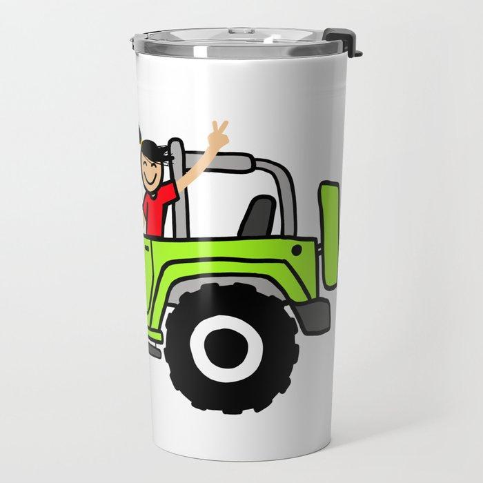 Jeep Wave Girl - Side View - Lime Green Travel Mug