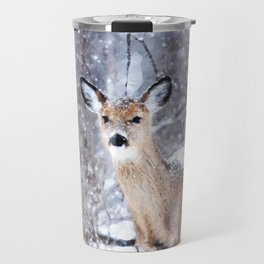 Deer In Snow Travel Mug