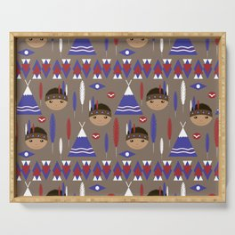 Seamless kids cute American indian native retro background pattern Serving Tray