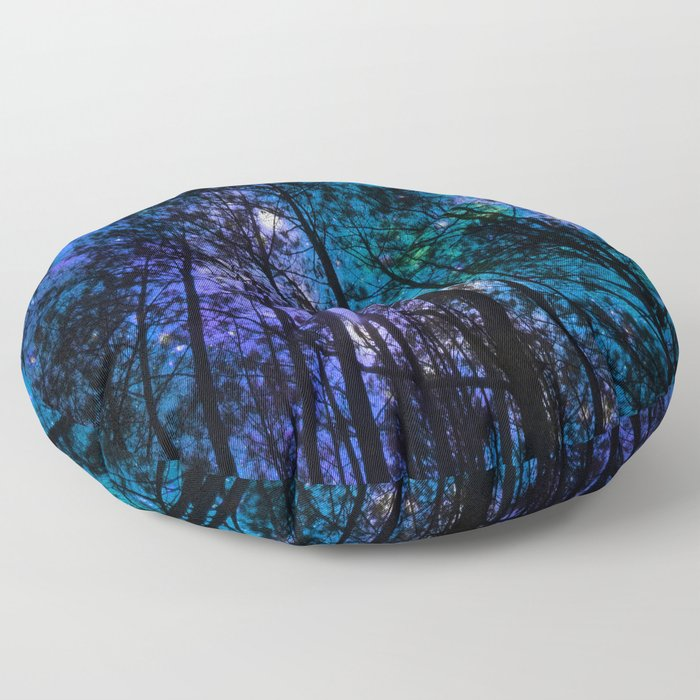 Black Trees Teal Purple Space Floor Pillow