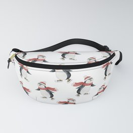 Watercolor Christmas seamless pattern with cute penguins skating on ice. Fanny Pack