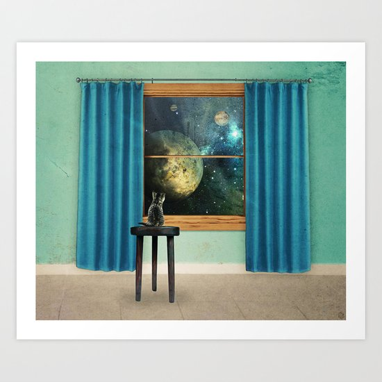 A cat looking outside Art Print
