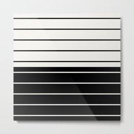 Two Tone Stripes - Black and White Metal Print