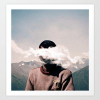 cloud Art Prints featuring cloud by Monika Traikov