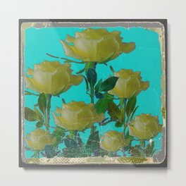 SHABBY CHIC TURQUOISE ANTIQUE IVORY YELLOW ROSE GARDEN Metal Print