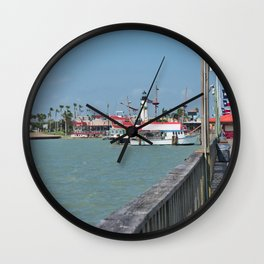 Lighthouse in Port Isabel Texas 2 Wall Clock