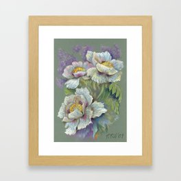 White Poppy Flowers bouquet Floral pastel drawing on green background Floral decor Framed Art Print