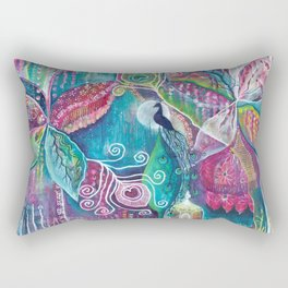Sacred Temple and the Peacock King - Justine Aldersey-Williams 2012 Rectangular Pillow