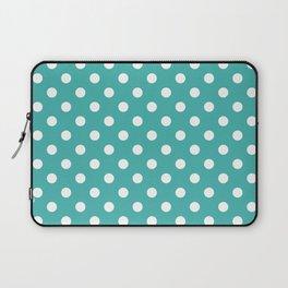 Small Polka Dots - White on Verdigris Laptop Sleeve