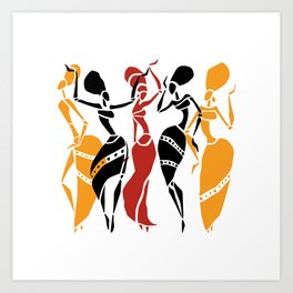 Abstract African dancers silhouette. Figures of african women. Art Print