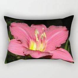 Pink - Rose Day Lily against black Rectangular Pillow